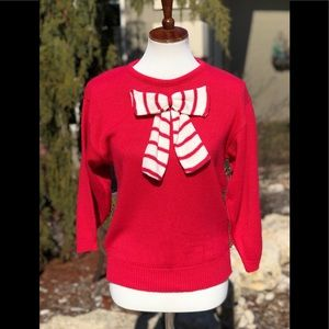 Vintage red and white sweater with bow sz S